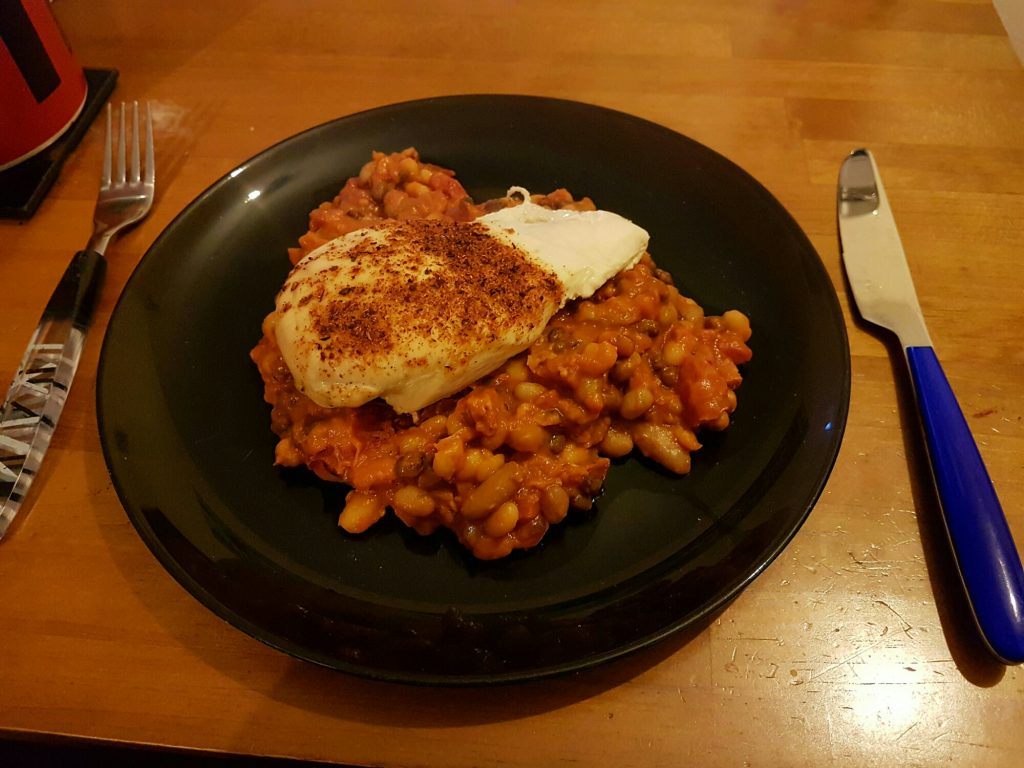 Cajun spiced chicken served with a chorizo and mixed bean cassoulet