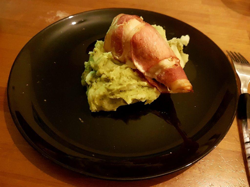 Chicken with pesto mash potato