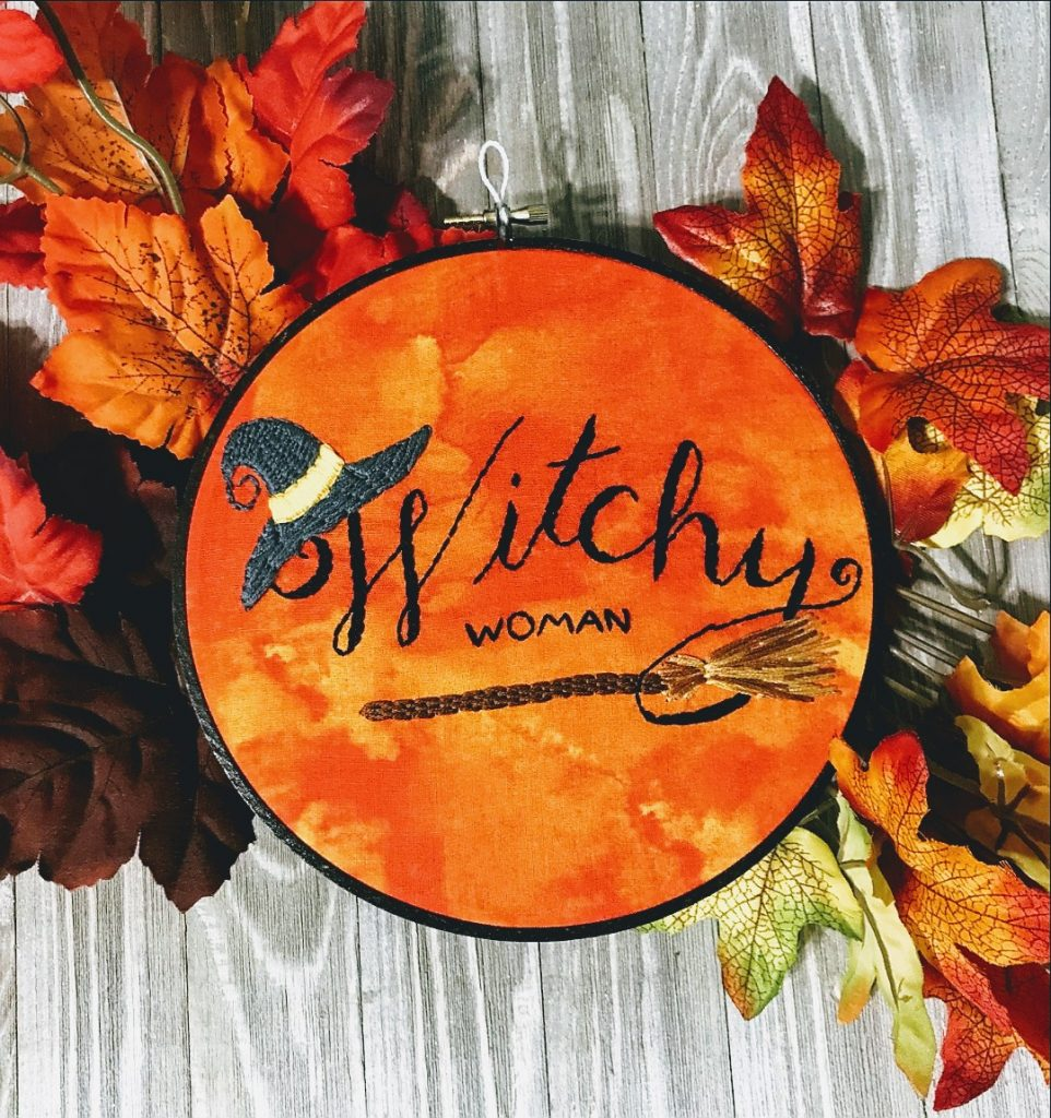 Halloween embroidery art - The Sleeping Fox Stitchery