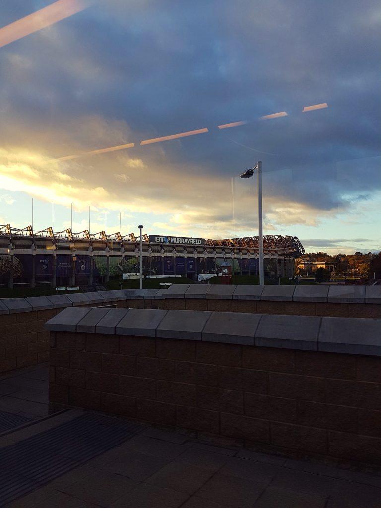 Sunset over Murrayfield Stadium